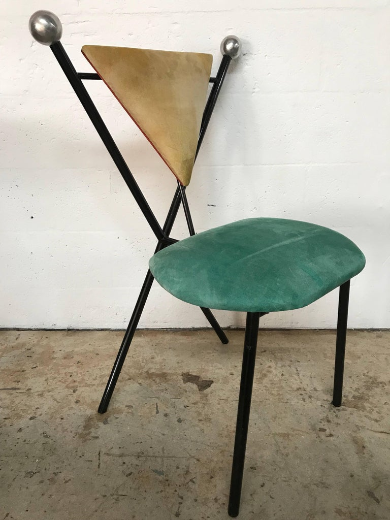 Post modern set of four postmodern dining chairs for sale