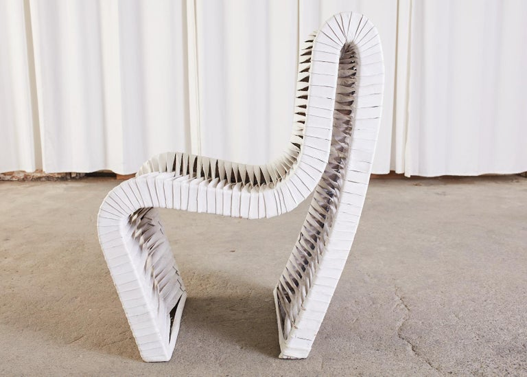 Set of Four Post Modern Sculptural Leather Strap Chairs For Sale 10