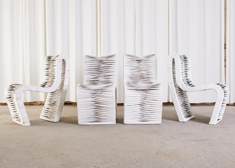Post-Modern Set of Four Post Modern Sculptural Leather Strap Chairs For Sale