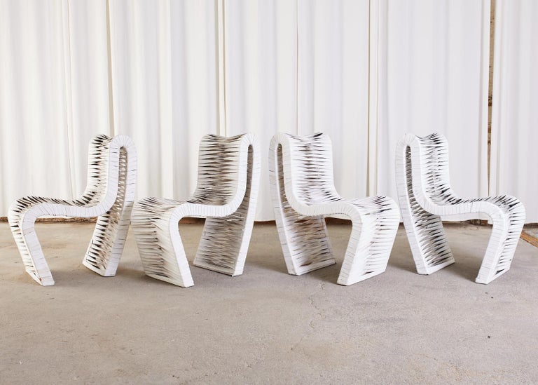 American Set of Four Post Modern Sculptural Leather Strap Chairs For Sale