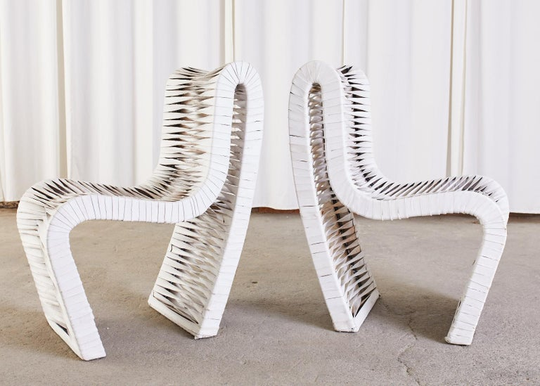 20th Century Set of Four Post Modern Sculptural Leather Strap Chairs For Sale