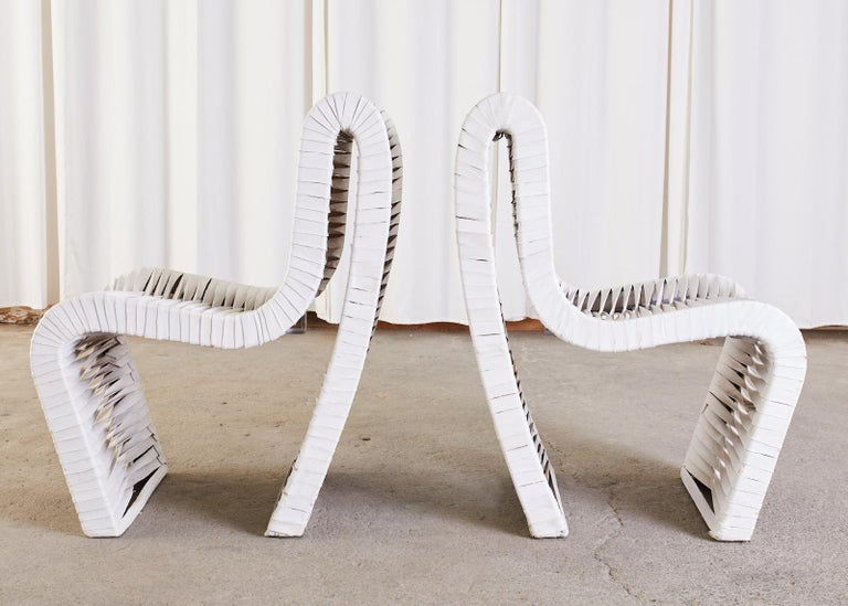 Set of Four Post Modern Sculptural Leather Strap Chairs For Sale 2