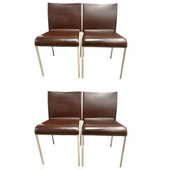 Set of Four Potocco Italy Italian Brown Leather Dining Chairs