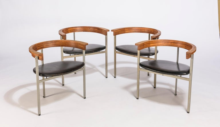 Set of Four Poul Kjærholm for E. Kold Christiansen PK11 Dining Chairs For Sale 2
