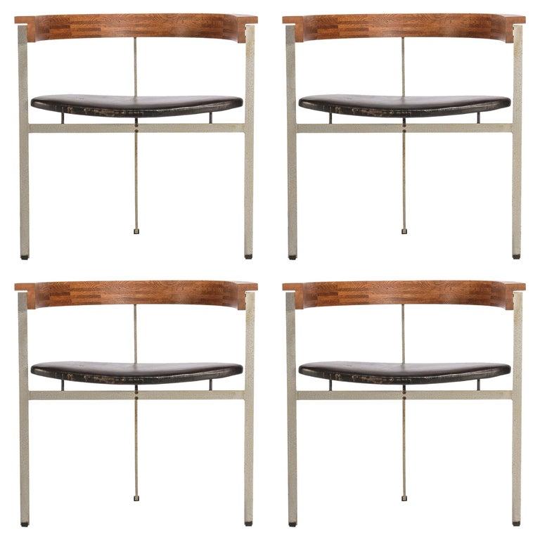 Set of Four Poul Kjærholm for E. Kold Christiansen PK11 Dining Chairs For Sale