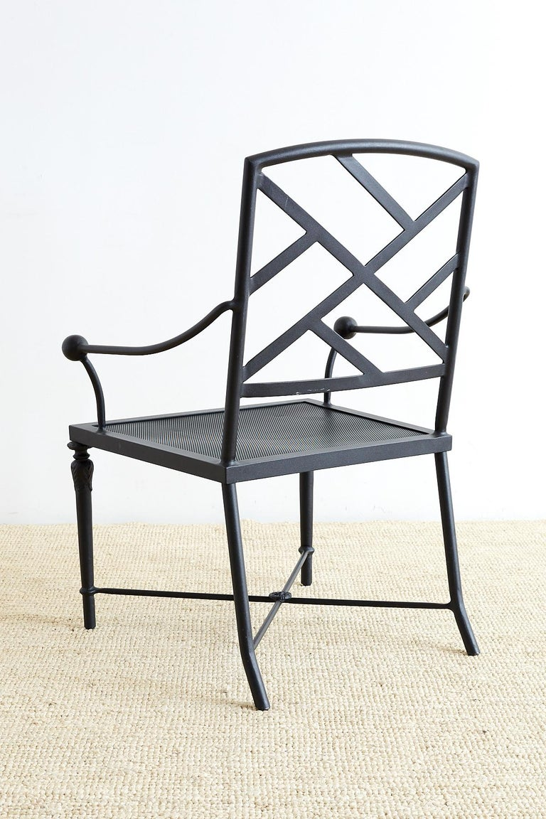 20th century set of four powder coated aluminum garden chairs for sale