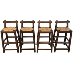 Set of Four Primitive Style Oak Bar Stools