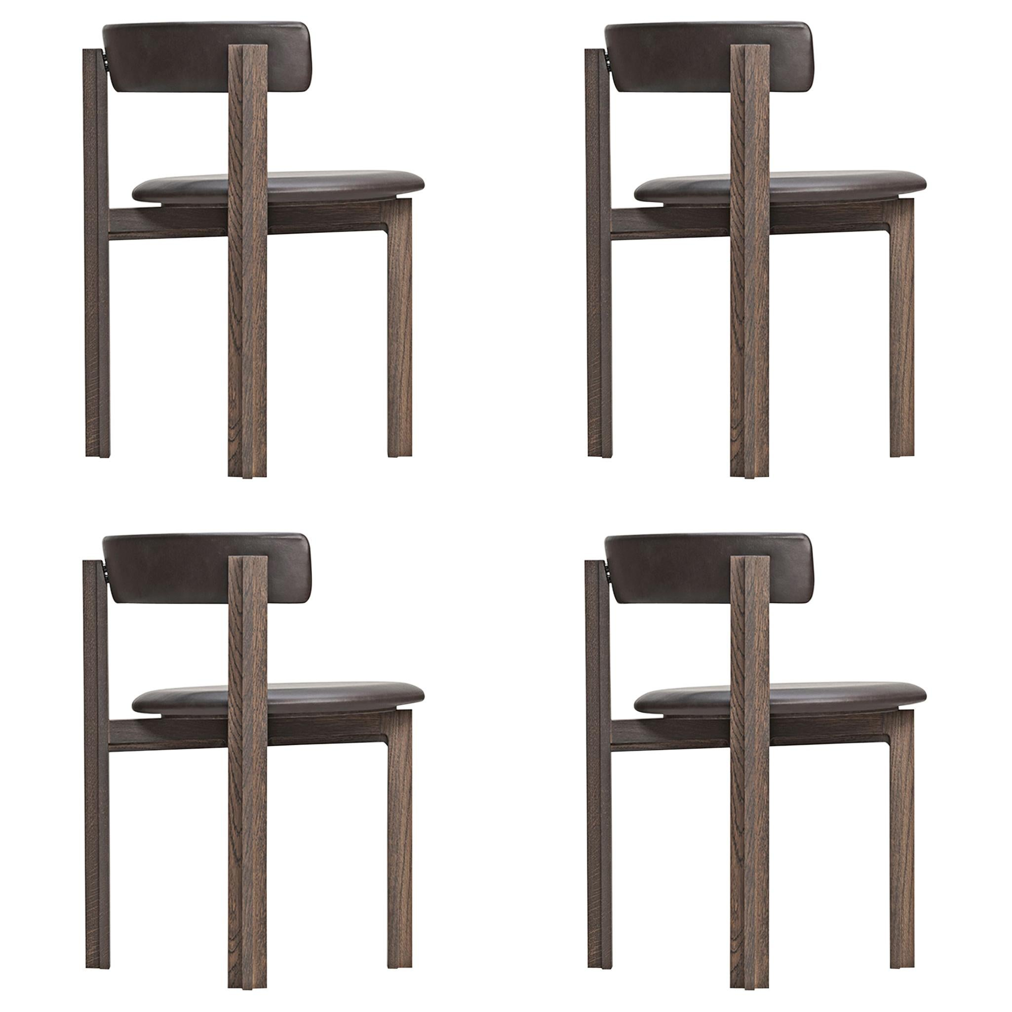 Set of Four Principal Dining Wood Chairs Designed by Bodil Kjær
