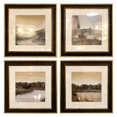 Set of Four Prints in Trowbridge Gallery Frames, Lake and River Scenes