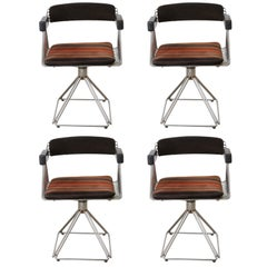 "Set of Four ""Pyramid"" Swivel Dinning Chairs Designed by Rudi Verelst, Belgium"