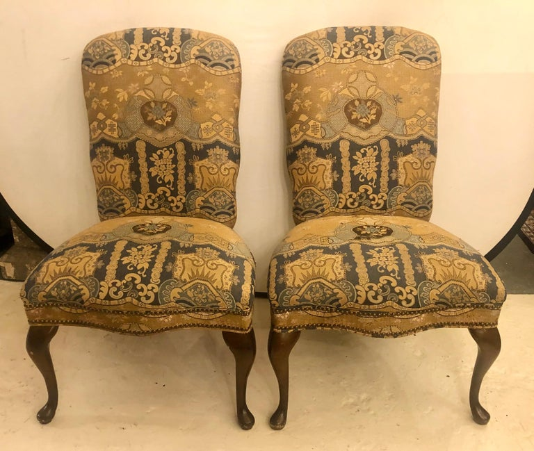 Set of Four Queen Anne High Back Dining Chairs In Good Condition In Stamford, CT