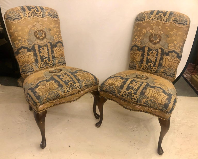 Fabric Set of Four Queen Anne High Back Dining Chairs