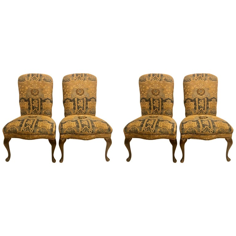 Set of Four Queen Anne High Back Dining Chairs