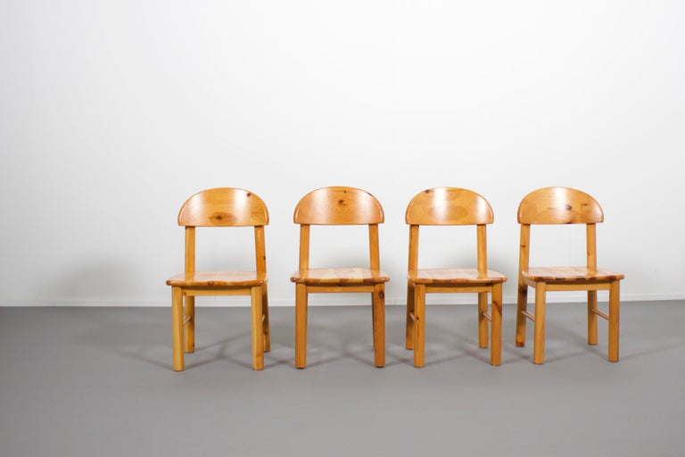 Mid-Century Modern Set of Four Rainer Daumiller Pine Wood Dining Chairs, 1970s For Sale