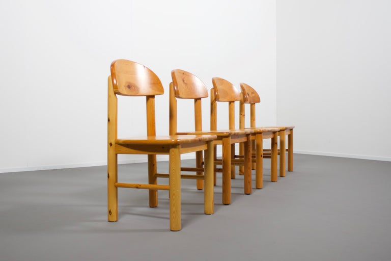 Danish Set of Four Rainer Daumiller Pine Wood Dining Chairs, 1970s For Sale