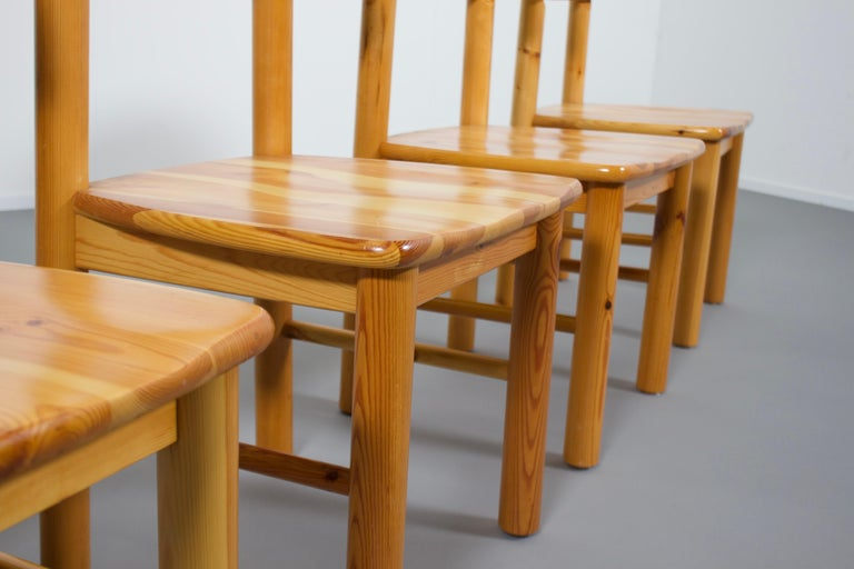 20th Century Set of Four Rainer Daumiller Pine Wood Dining Chairs, 1970s For Sale