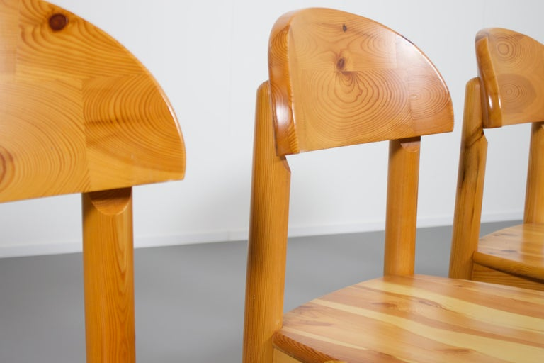 Set of Four Rainer Daumiller Pine Wood Dining Chairs, 1970s For Sale 1