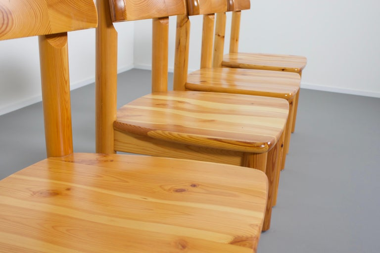 Set of Four Rainer Daumiller Pine Wood Dining Chairs, 1970s For Sale 3