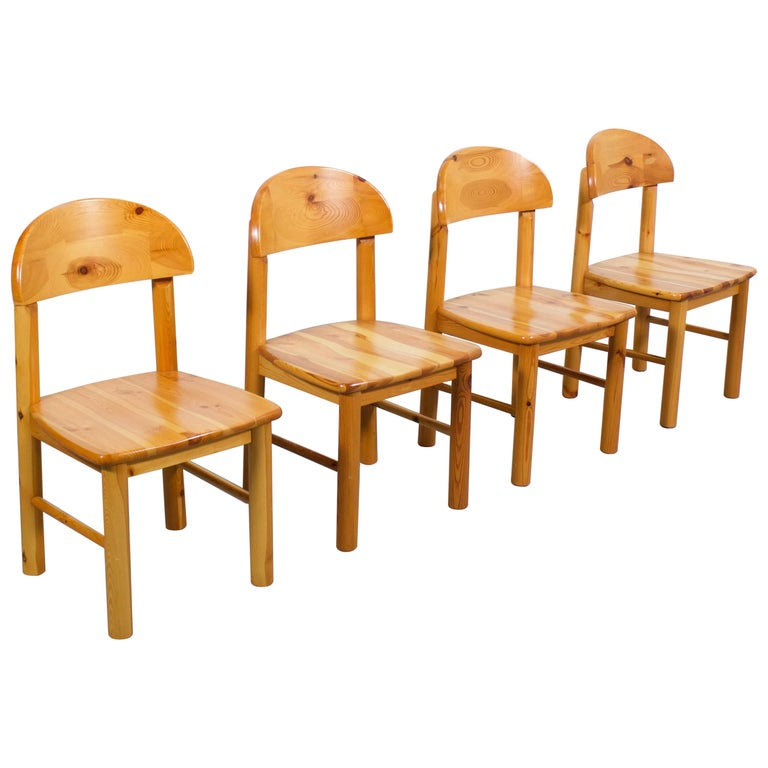 Set of Four Rainer Daumiller Pine Wood Dining Chairs, 1970s For Sale