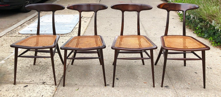 Set of Four Rare Dining Chairs by Martin Eisler and Carlo Hauner for Forma For Sale 2