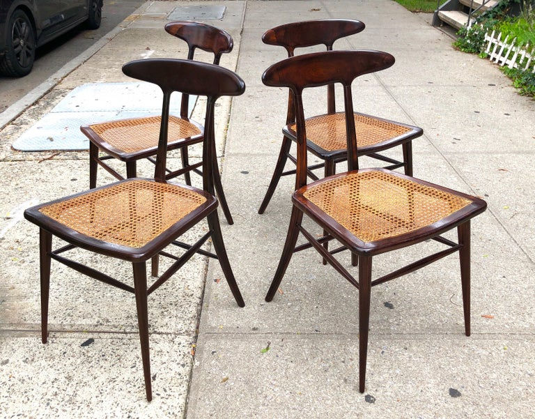 Set of Four Rare Dining Chairs by Martin Eisler and Carlo Hauner for Forma For Sale 3
