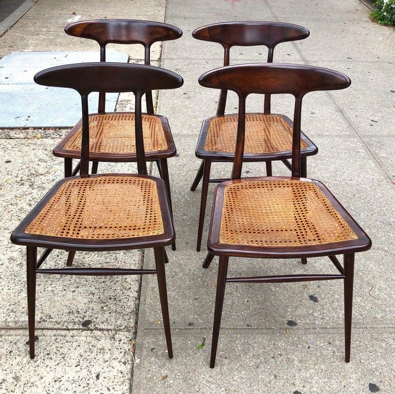 Mid-Century Modern Set of Four Rare Dining Chairs by Martin Eisler and Carlo Hauner for Forma For Sale