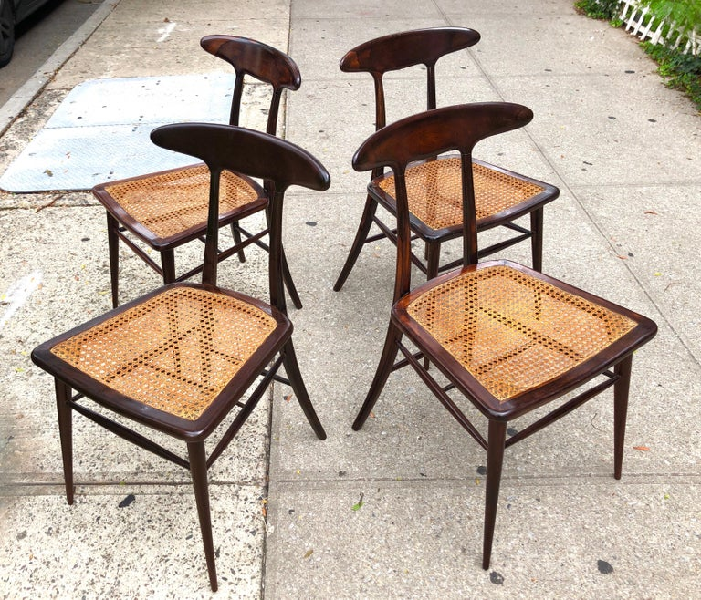 Brazilian Set of Four Rare Dining Chairs by Martin Eisler and Carlo Hauner for Forma For Sale