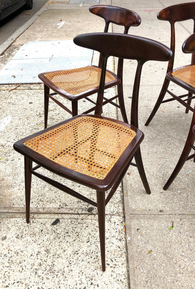 Caning Set of Four Rare Dining Chairs by Martin Eisler and Carlo Hauner for Forma For Sale