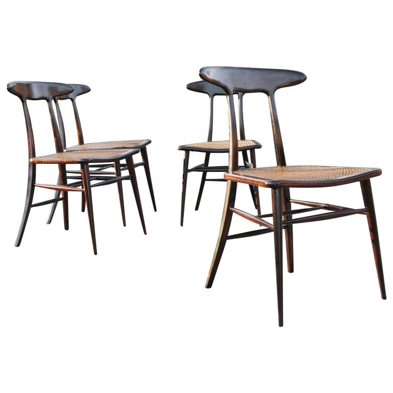 Set of Four Rare Dining Chairs by Martin Eisler and Carlo Hauner for Forma For Sale