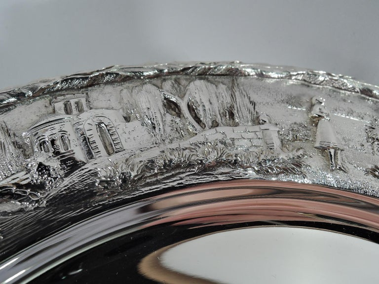 20th Century Set of Four Rare Kirk Baltimore Sterling Silver Landscape Dinner Plates For Sale