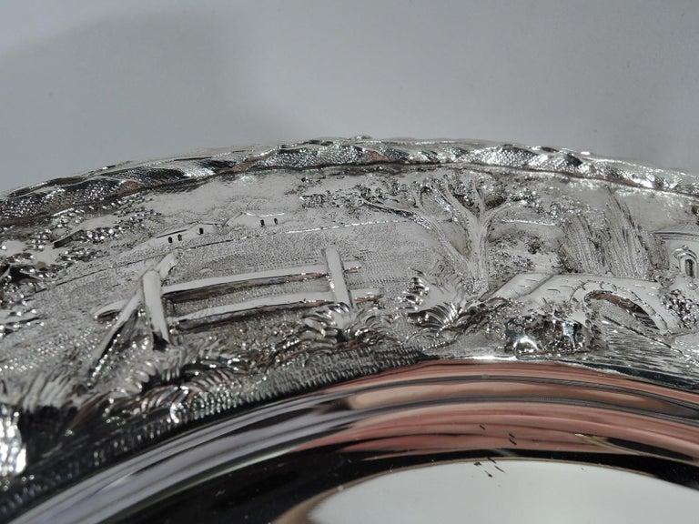 Set of Four Rare Kirk Baltimore Sterling Silver Landscape Dinner Plates For Sale 1