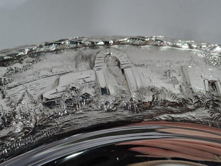 Set of Four Rare Kirk Baltimore Sterling Silver Landscape Dinner Plates For Sale 2