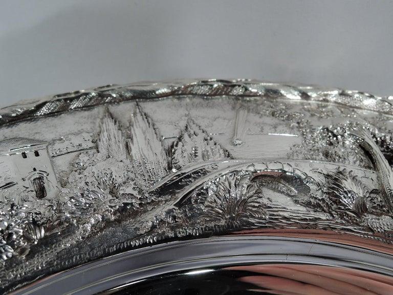 Set of Four Rare Kirk Baltimore Sterling Silver Landscape Dinner Plates For Sale 3