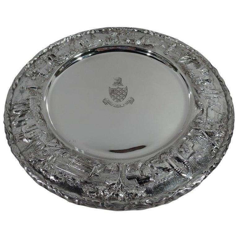 Set of Four Rare Kirk Baltimore Sterling Silver Landscape Dinner Plates For Sale
