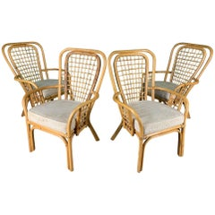 Set of Four Rattan Fan Back Armchairs