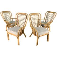 Set of Four Rattan Fan Back Armchairs