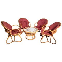 Four Rattan Lounge Chairs with Center Table Dirk van Sliedregt, 1960s