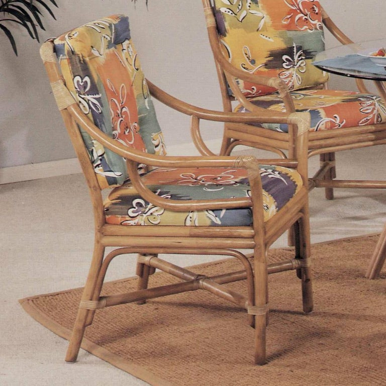 Mid-Century Modern Set of Four Rattan Ring Back