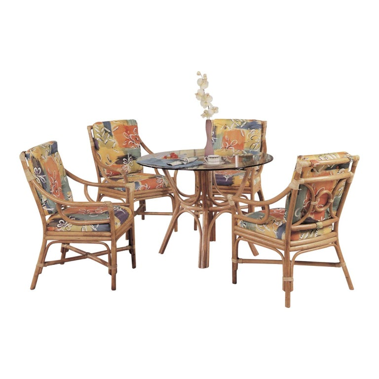 "Set of Four Rattan Ring Back ""Concord"" Chair and Glass Top Table, Dining Set For Sale"