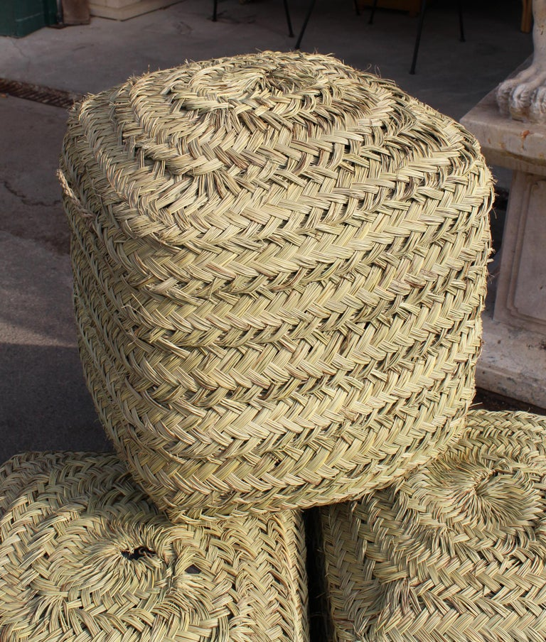 Set Of Four Rattan Wicker Hand Sewn Puffs For Sale At 1stdibs
