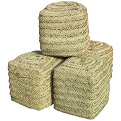 Set of Four Rattan Wicker Hand-Sewn Puffs