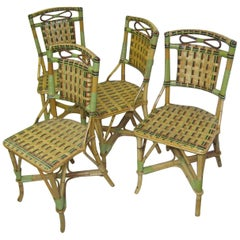 Set of Four Rattan with Split Reed Cafe Chairs