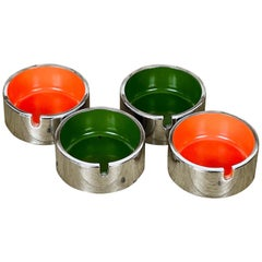 Set of Four Red and Green Tower Ashtray by Isamu Kenmochi 'Signed', 1960s