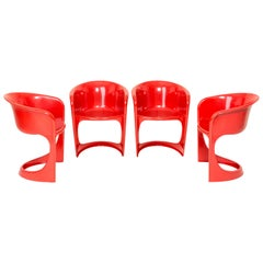 Set of Four Red Cado Chairs, Steen Østergaard, 1974