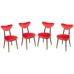 Set of Four Red Heart Chairs, Poland, 1960s