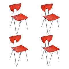 Set of Four Red Mikado 1800 Side Chairs by Walter Leeman for Kusch + Co