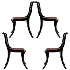 Set of Four Regency Black Painted Klismos Dining Chairs
