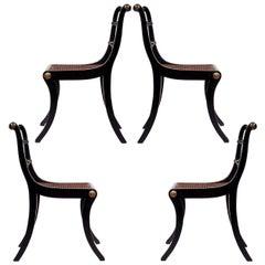 Set of Four Regency Black Painted Klismos Dining Chairs
