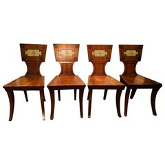 Set of Four Regency Mahogany and Ebony Armorial Hall Chairs