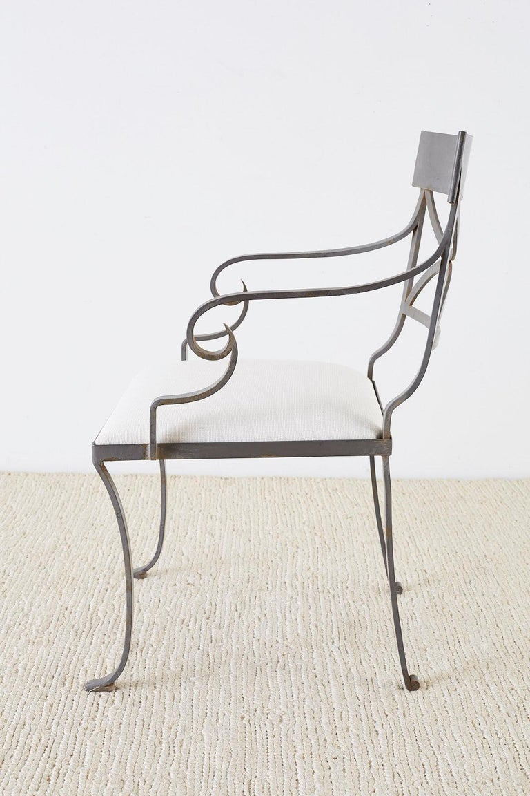 Set of Four Regency Style Iron Garden Patio Chairs For Sale 6
